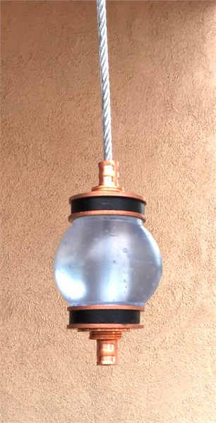 Hanging Totems - Single Ball - Ice Blue & Black Cast Glass
