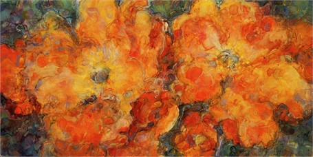 "Susan Wahlrab | Poppies | Varnished Watercolor on Archival Clayboard | 8"" X 16"" 