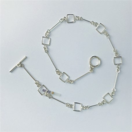 Necklace: Small Link Chain with 8 Square (oxidized)