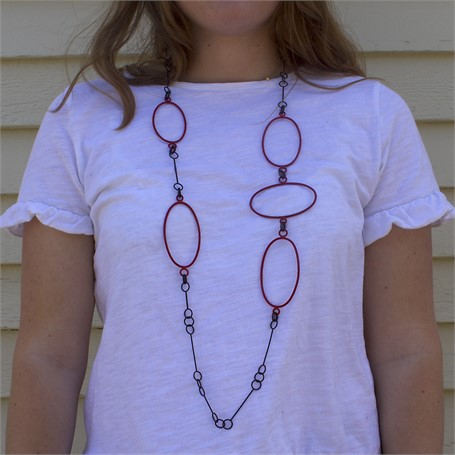 Necklace: Small Steel Link Chain with 5 Red Ovals