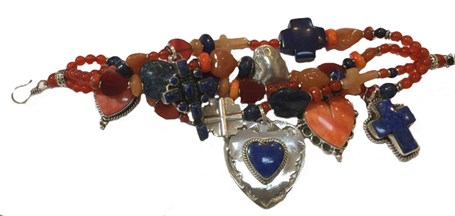 KY 1236 - Hearts and Crosses Four strand bracelet, carnelian, lapis, spiny oyster