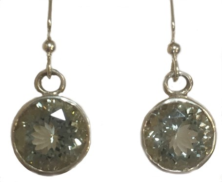 Earrings - Sterling Silver Square Dangles Clear Quartz E-689