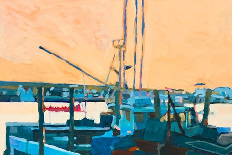 "Liz Hoag | Harbor Sunset | Acrylic | 24"" X 36"" 