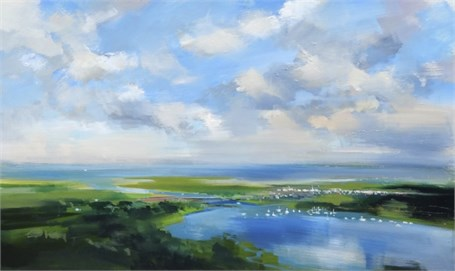 "Craig Mooney | Nestled Harbor | Oil | 36"" X 60"" 