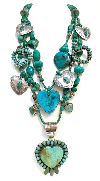 KY 1271 Three Strand Heart Necklace Turquoise and Sterling Silver