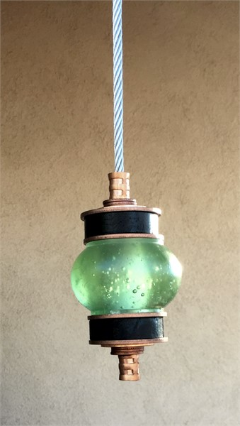Hanging Totems - Single Ball - Green & Onyx Cast Glass