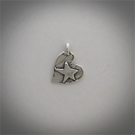Pendant - A sterling silver heart with a five pointed star in the center  #30519