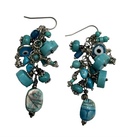 Earrings - Containing Turquoise, Howlite, Magnesite with Scarab, Titanium Wire D211