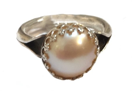 Ring - Anticlastic with Pearl Size 5  #54