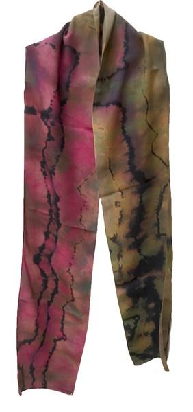 Scarf - Red Reverse Shibori Crepe #120