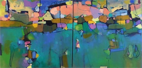 Landscape With Lobster Buoy - Diptych