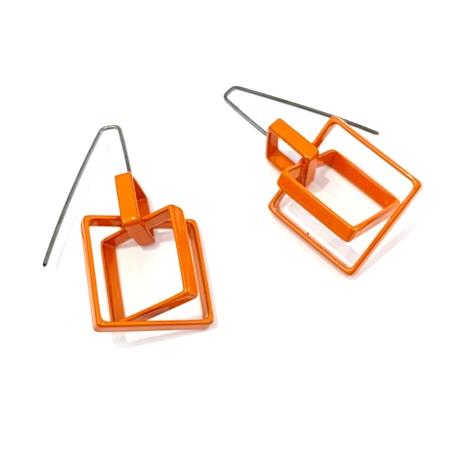 Small 3 Square Earrings in Orange
