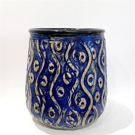 "Richard Winslow | Swirl Vase in Blue | Ceramic | 7"" X 5"" | Sold"
