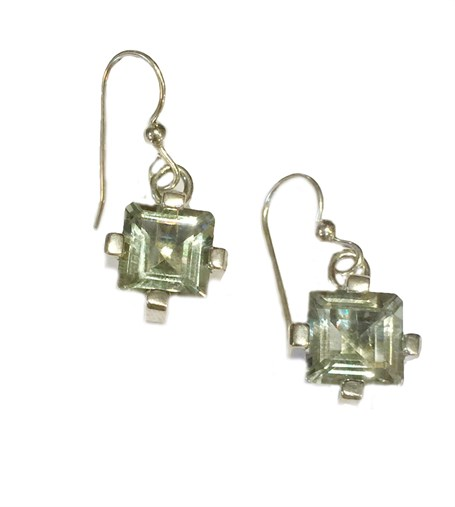 Earrings - Sterling Silver Square Dangles Green Quartz  E-914