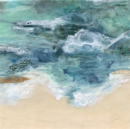 "Kathy Ostrander Roberts | Emerald Shoals | Encaustic on Panel | 18"" X 18"" 