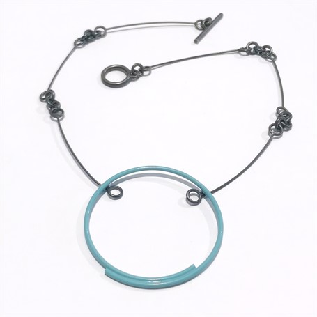 Powder Coated Necklace: Pale Blue Circle on Handmade Chain