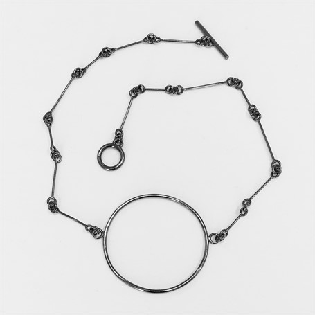 Oxidized Sterling Silver Necklace: Small link chain with Circle Center