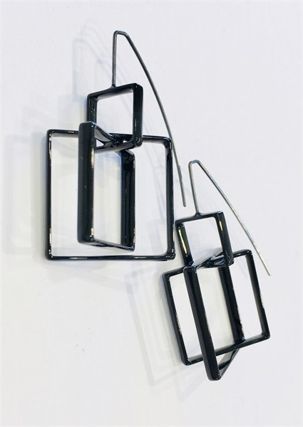 Earrings: 3 Large Black Squares