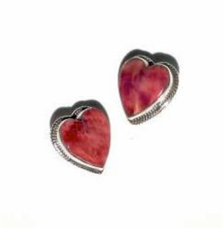 Earrings - Sterling Silver Spiny Oyster Heart Post 1574