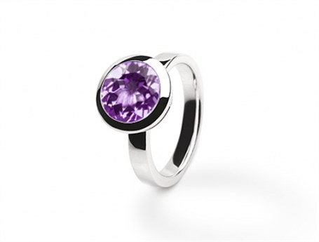 Ring - Bezel Set Amethyst & Sterling Silver 8