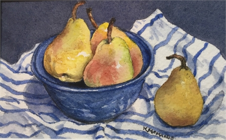 "Karen McManus | Pears in a Blue Bowl | Watercolor on Canvas | 2.5"" X 4"" 