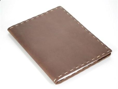 Leather Composition Cover Machine Stitched - Dark Brown & Fuschia  RU05