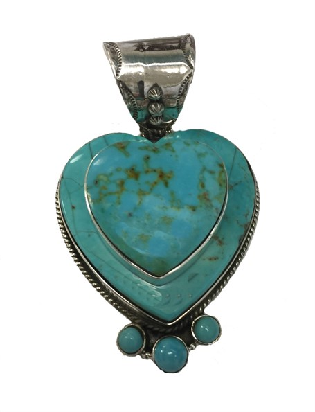 Pendant - Sterling Silver Double Turquoise Heart with Turquoise Points