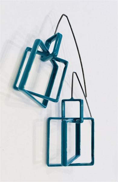 Earrings: 3 Large Teal Squares