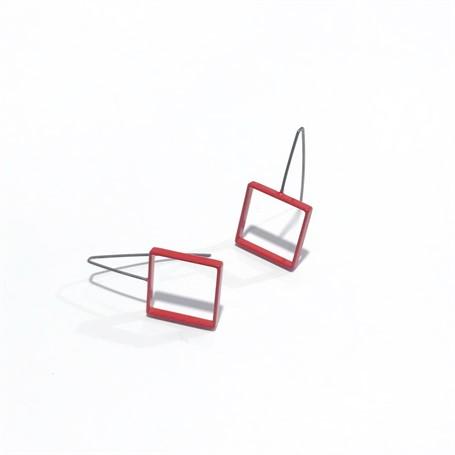 Powder Coated Earrings: Medium Red Square