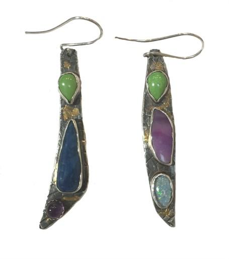 Earrings - Gaspeie, Blue Nephrite Jade, Amethyst, Opal & Sugilite set in Sterling Silver K2536