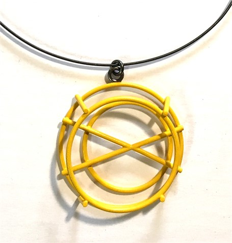 Necklace: Small Structure Pendant with X in Mustard