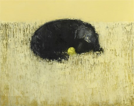 "Rebecca Kinkead | Black Dog Dreaming in Shag | Oil and Wax on Linen | 48"" X 60"" 