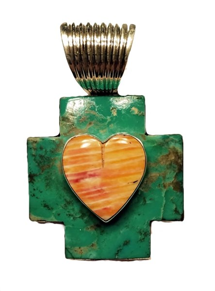 Pendant - Turquoise Cross & Spiny Oyster Heart