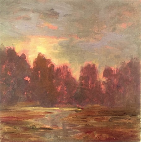 "Julie Houck | Winter Sunrise | Oil on Linen Mounted on Panel | 8"" X 8"" 