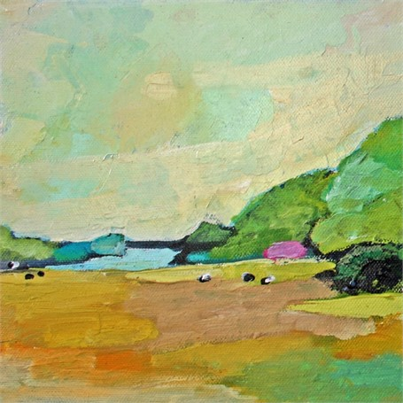 "Claire Bigbee | Buttercup Pastures at Wolf's Neck Farm #2 | Oil | 8"" X 8"" 