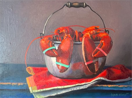 "William B. Hoyt | Lobsters | Oil | 6"" X 8"" 