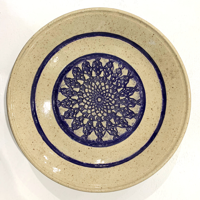 "Richard Winslow | Textured Shallow Bowl in Blue | Ceramic | 2.5"" X 10.5"" 