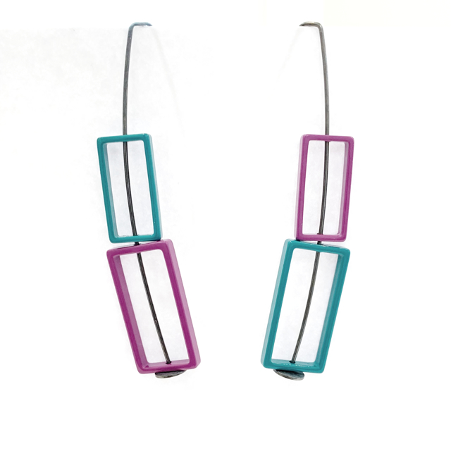 Double Rectangle Earrings in Teal and Purple