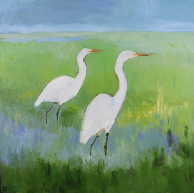 "Ellen Welch Granter | Pair Wading | Oil on Canvas | 24"" X 24"" 