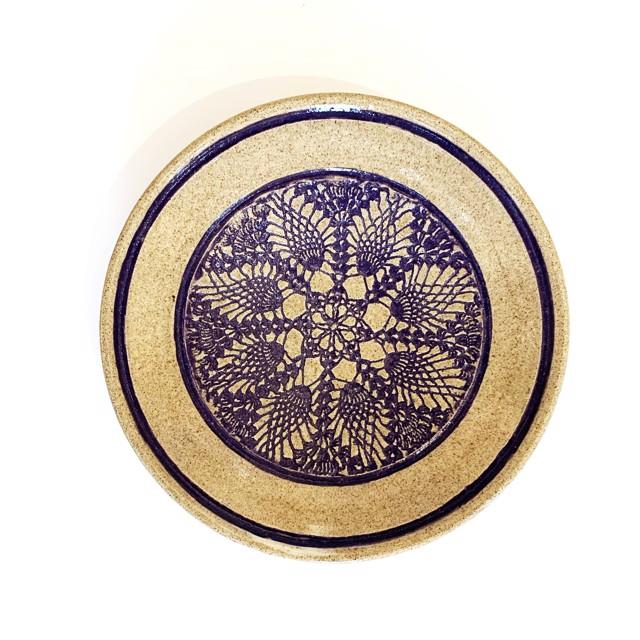 "Richard Winslow | Blue Textured Dish | Ceramic | 2.5"" X 12"" | Sold"