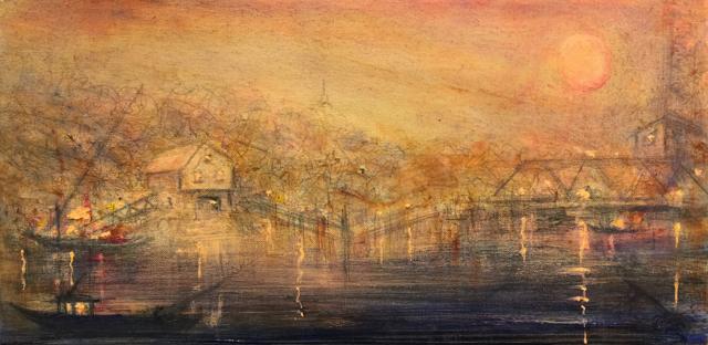 "John LeCours   A Bridge to Maine #7   Oil on Canvas   10"" X 20""   Sold"