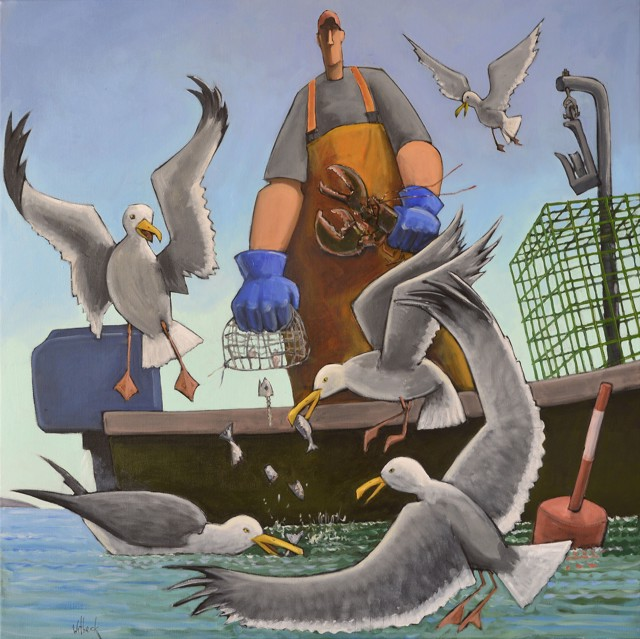 "David Witbeck | Free Lunch | Oil on Canvas | 42"" X 42"" 