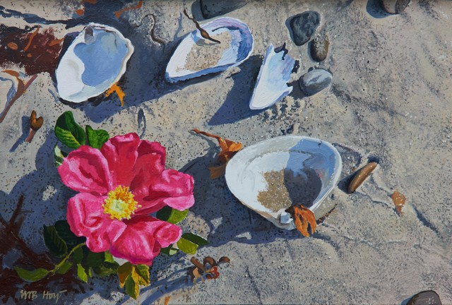 "William B. Hoyt | Beach Rose | Oil on Canvas Stretched on Panel | 8"" X 12"" 