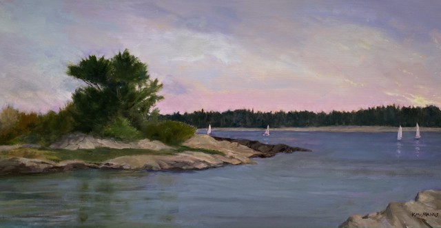 "Karen McManus | Twilight Sail | Oil on Panel | 12"" X 24"" | Sold"