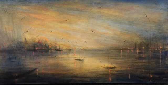 "John LeCours | Maine Harbor Twilight  | Oil on Canvas | 20"" X 40"" 