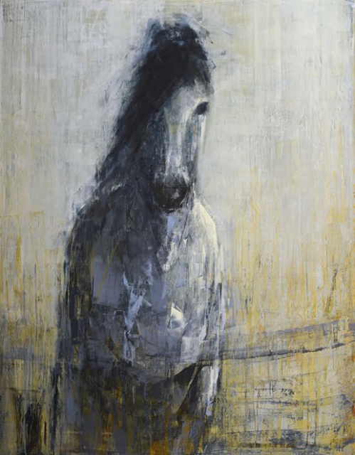 "Rebecca Kinkead | Grey Horse (Walking) | Oil and Wax on Canvas | 54"" X 42"" 