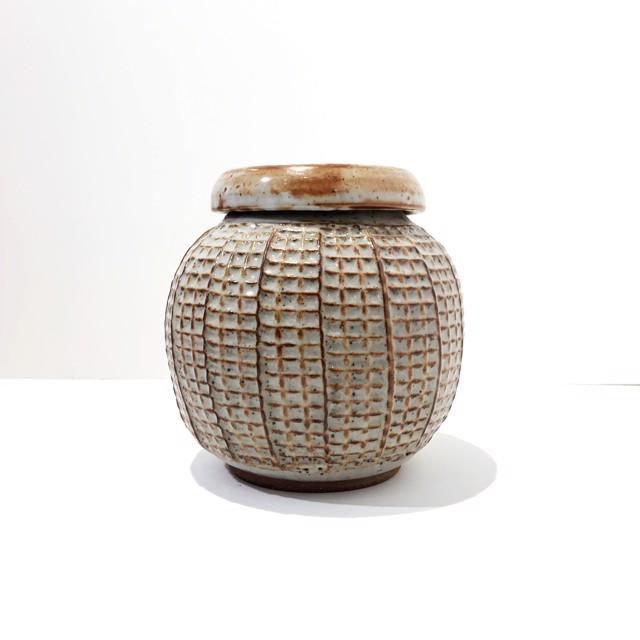 "Richard Winslow | Light Blue Textured Pot | Ceramic | 7.5"" X 7"" | $100.00"