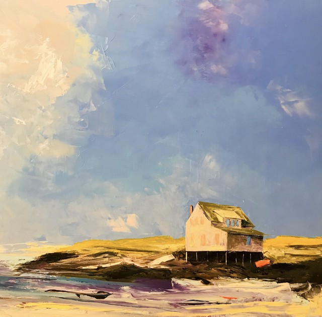 "Janis H. Sanders | Fish House Rocks | Oil on Panel | 24"" X 24"" | $2,500.00"