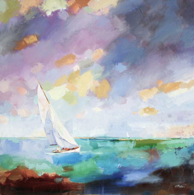"Claire Bigbee | Point of Sail | Oil on Canvas | 36"" X 36"" 