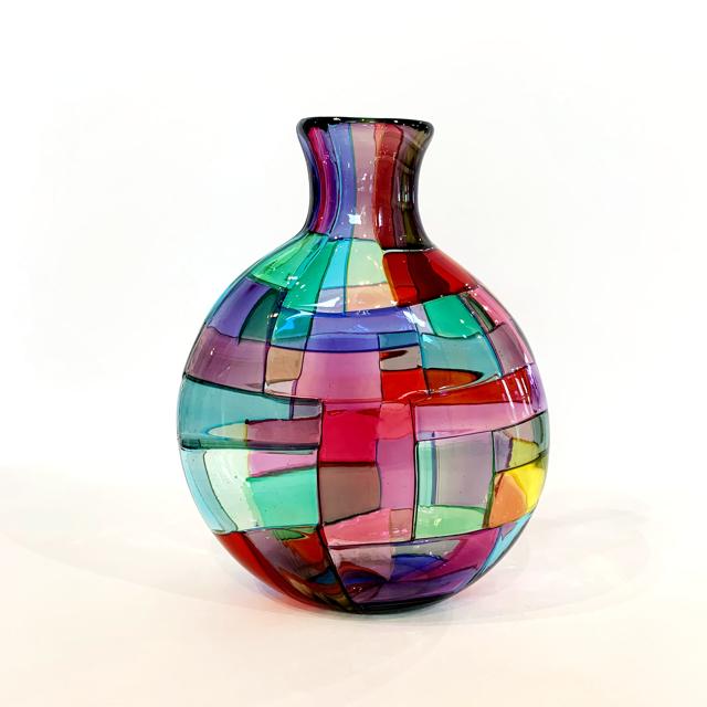 Crazy Quilt Vase, Transparent, Small